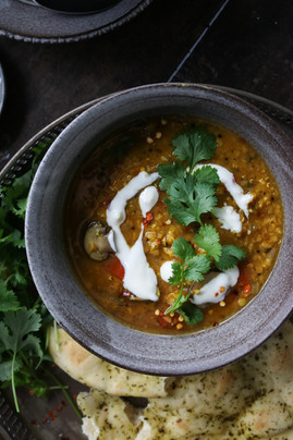 One-pot Golden Red Lentil and Mushroom Curry Soup