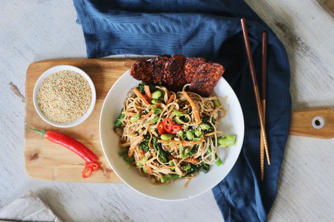 Soba Noodle Bowl with Shiitake Mushrooms & BBQ Tempeh