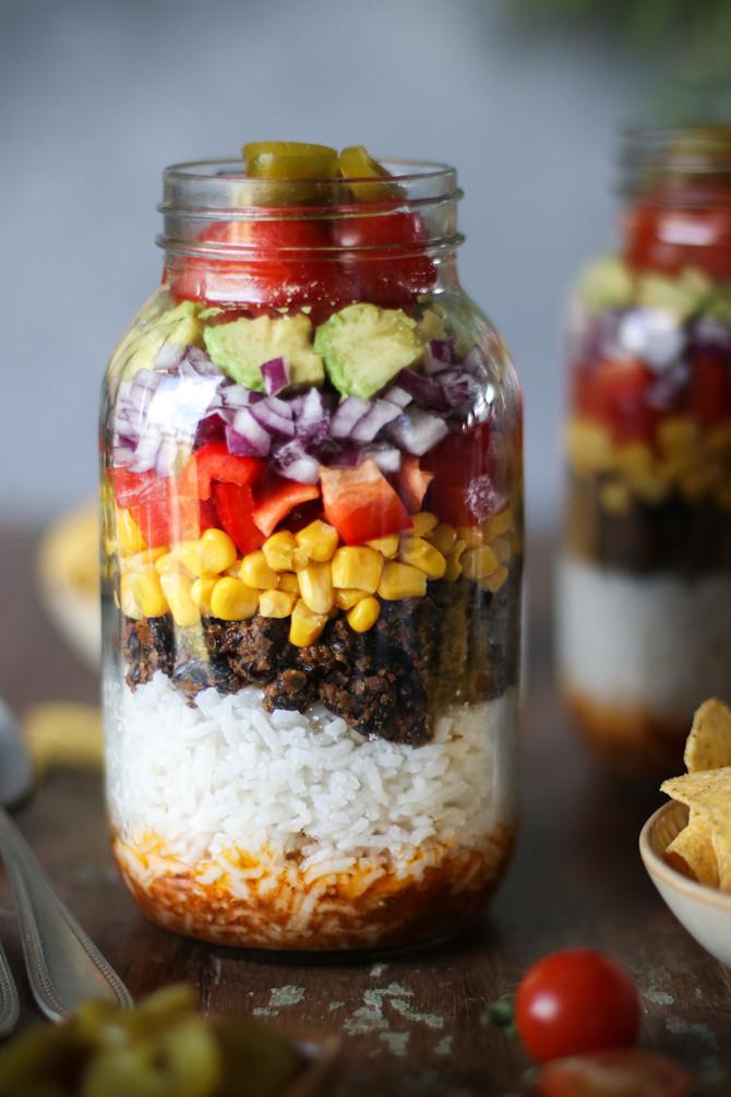 Spiced Black Bean & Rice Salad in a Jar