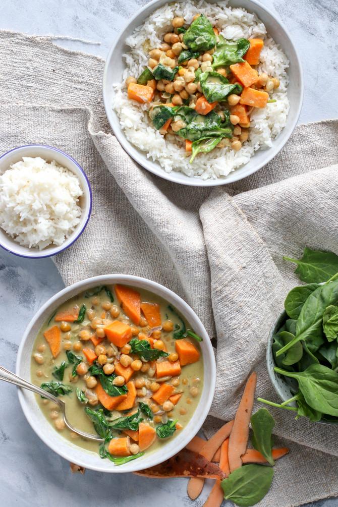Thai Sweet Potato & Chickpea Green Curry