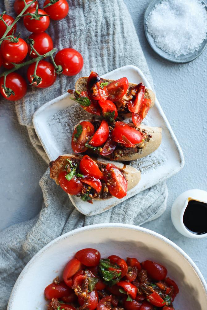 Double-Tomato Bruschetta with Balsamic Reduction