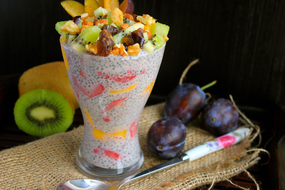 Whip together this quick 5-minute, make-ahead breakfast by adding any fruits you have on hand with some plant-milk of choice and some omega-3-rich chia seeds; now you have yourself an extremely nutritious breakfast. Yumm-o!