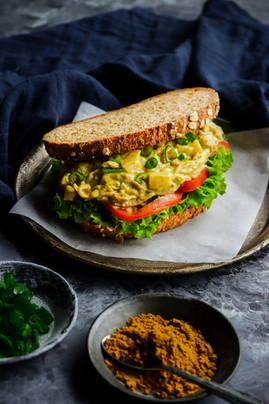 Oyster Mushroom Curry Salad Sandwich