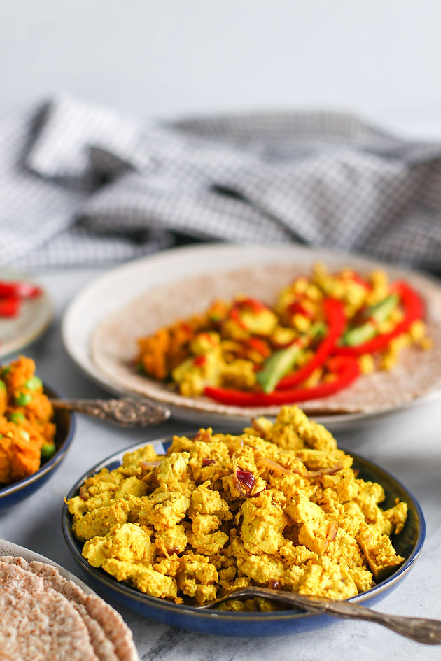 This Would Be A Great Breakfast Of Tofu Scramble And Sweet Potato Samosa Hash