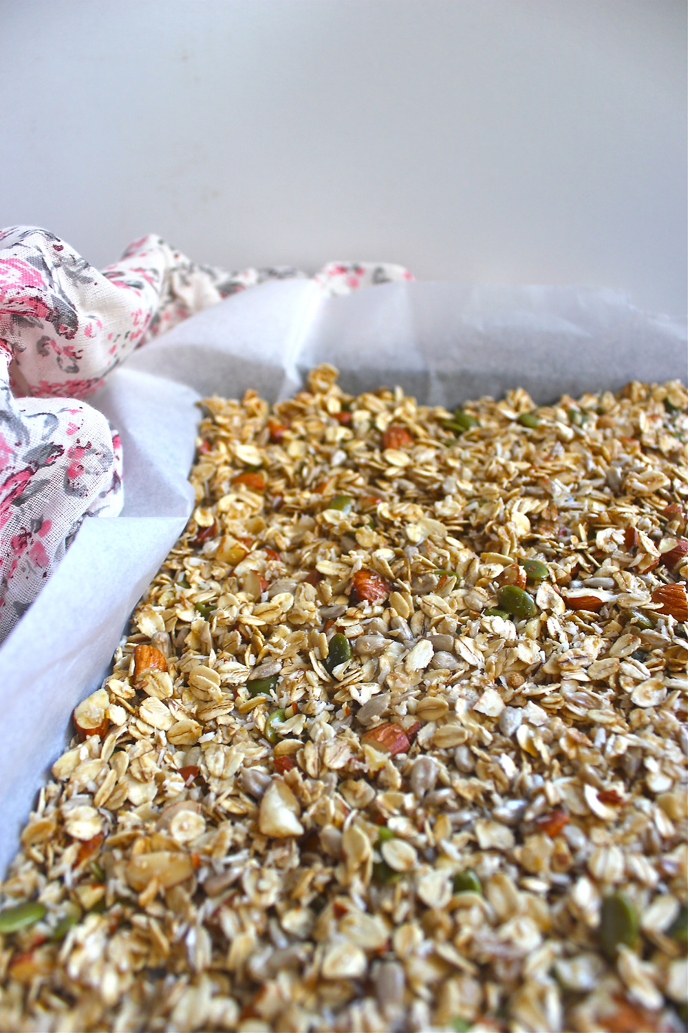 When making your own granola at home you have the ability to go lightly on the added sugar and oils, while also having the freedom to add any spices, nuts, seeds or dried fruit of your choosing. So much goodness with one easy recipe!