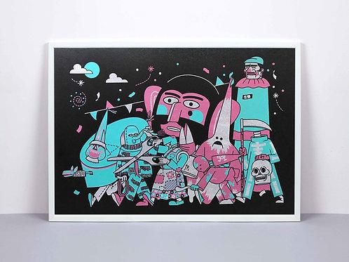 Festival Folk / 3 colour screen print on velvet