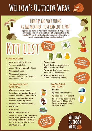 Willow's Forest School, Surrey - Kit List