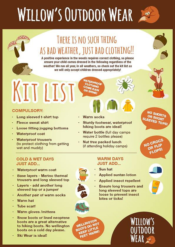 Willow's Forest School, Surrey - Kit List