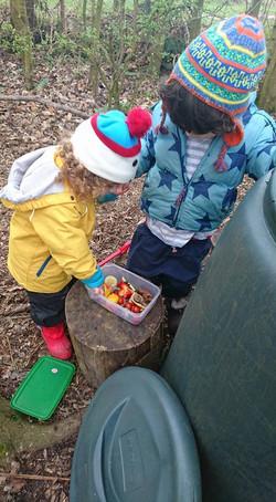 Feeding the earth worms!