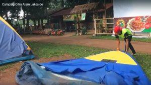 mendirikan tenda dome citra alam lakeside