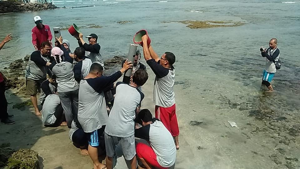 permainan pipa bocor atau dragon ball di tepi pantai