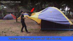 memasang pelapis tenda dome citra alam lakeside