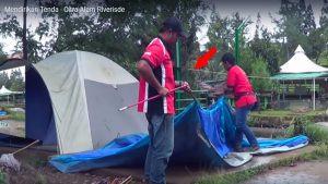 proses pendirian tenda dome citra alam riverside