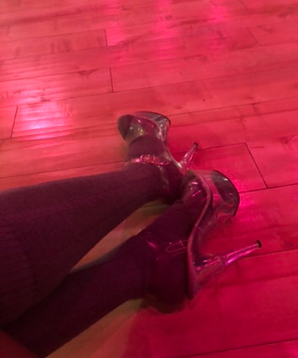 stripper heels and thigh high socks