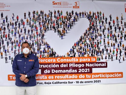 Participan agremiados al SNTE en B. C. Sur en la 3ra. Consulta Nacional para construir el PND 2021