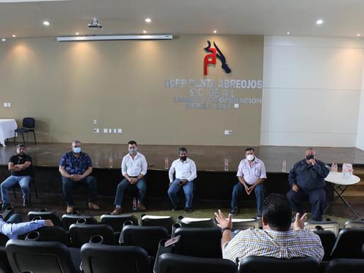 ALCALDE DE MULEGÉ Y PRESIDENTE DE FEDECOOP TERMINAN GIRA DE PREVENCIÓN EN PUNTA ABREOJOS
