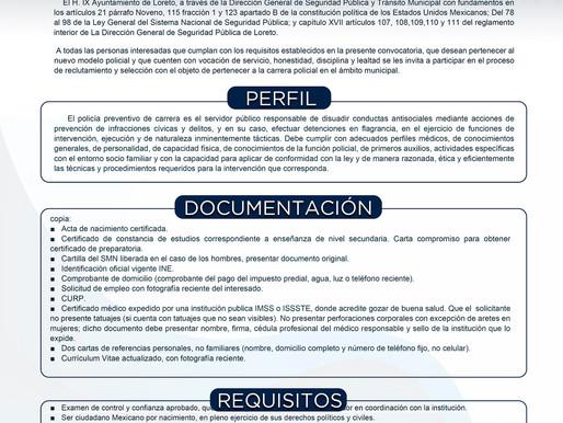 EMITE DIRECCIÓN DE SEGURIDAD PÚBLICA EN LORETO CONVOCATORIA PARA CONTRATACIÓN DE AGENTES.
