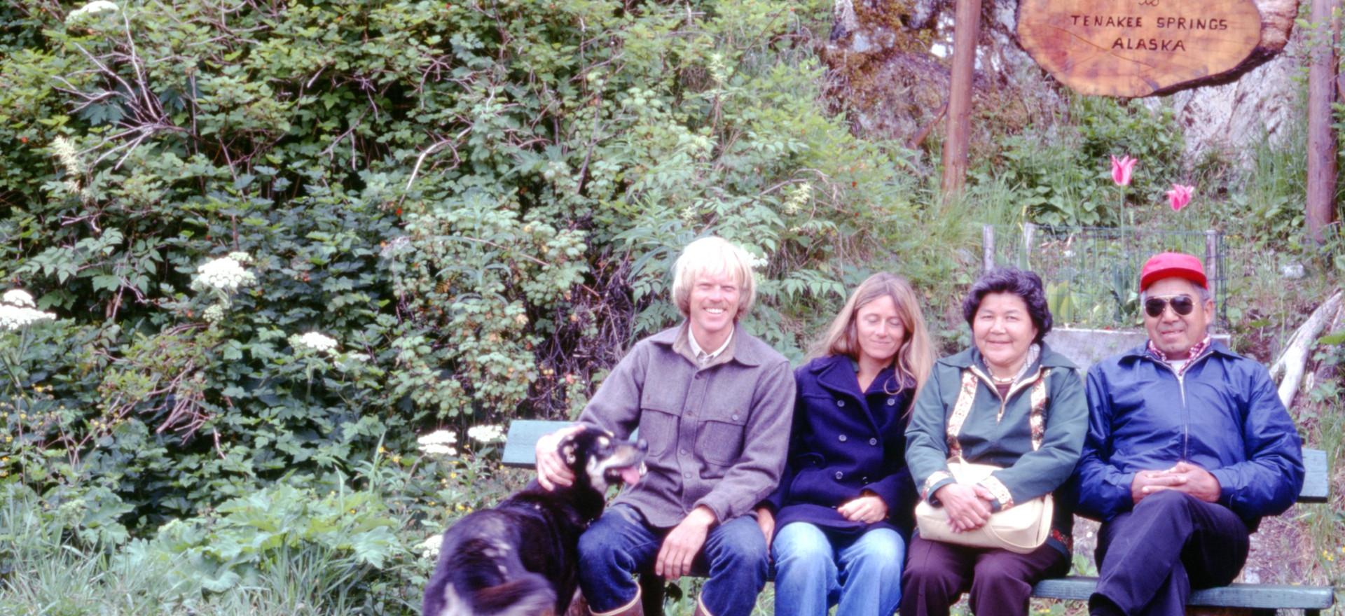 Catherine and Steven Attla visiting Richard and Kathy in Tenakee, Alaska.