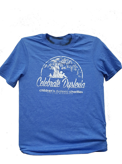 BLUE - Celebrate Dyslexia T-shirt