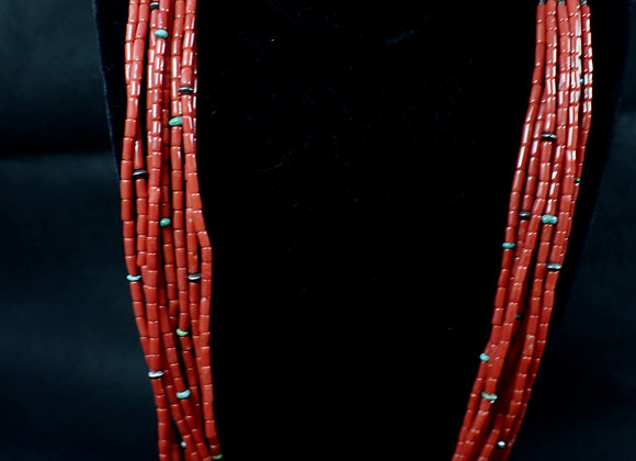 Stunning Eight-Strand Natural Coral Necklace