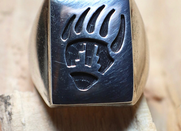 Hopi Overlay Bear Claw Signet Ring