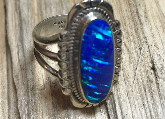 Bright Blue Opal Ring