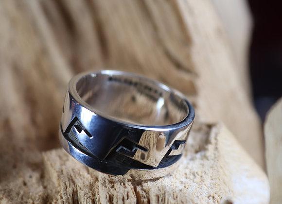 Sterling Silver Hopi Overlay Ring/Band