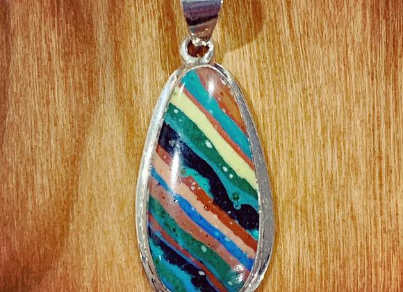 Rainbow Calsilica & Silver Pendant