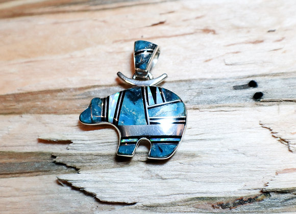 Inlay Turquoise, Opal Bear Pendant