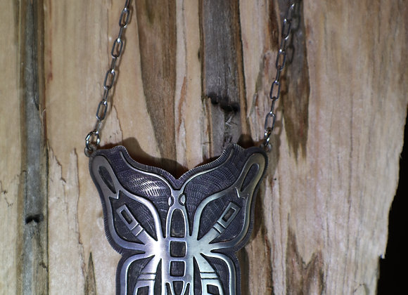 Hopi Overlay Butterfly Pendant Necklace
