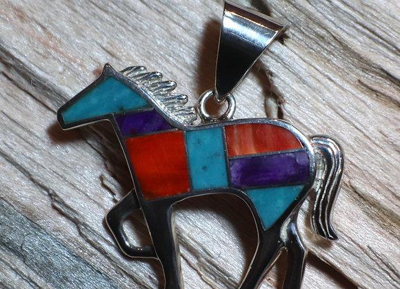 Supersmith – David Rosales Inlay Horse Pendant