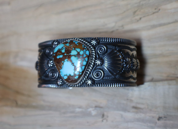 Darryll Cadman - Navajo Stamped Turquoise Cuff