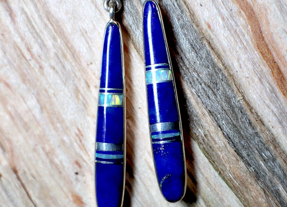 Navajo Lapis and Opal Earrings
