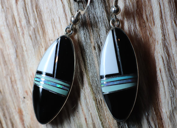 Inlaid Clam Shell, Black Jade, Turquoise and Opal Earrings