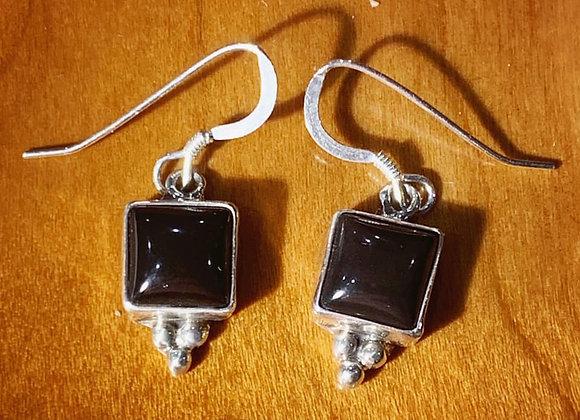 Onyx Handmade Dangle Earrings in Silver