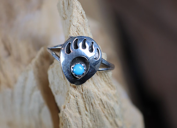Bear Claw Turquoise & Silver Hopi Ring