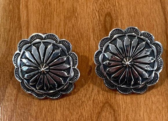 Concho Design Silver Stud Earrings