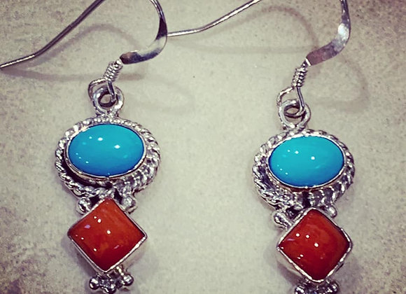 Sleeping Beauty Turquoise and Bright Red Coral Earrings