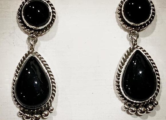 Two-stone Dangle Onyx Earrings in Sterling Silver