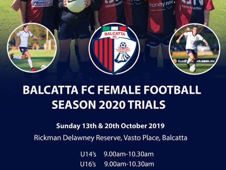 Balcatta FC Female Trials 2020