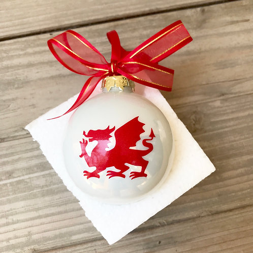 Christmas Bauble - White with Welsh Dragon