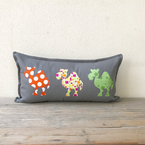 Grey Appliqué Camel Train Cushion