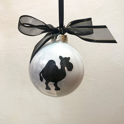 Christmas Bauble - White with Black Camel
