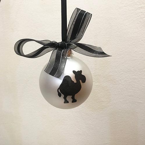 Christmas Bauble - Silver Matt with Black Camel