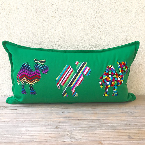 Green Appliqué Camel Train Cushion