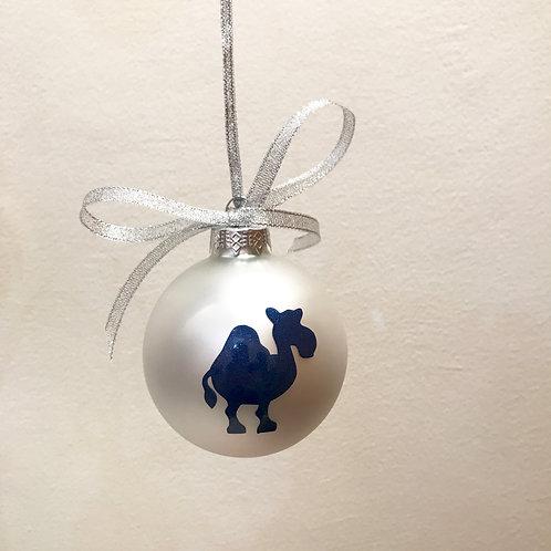 Christmas Bauble - Silver Matt with Blue Camel