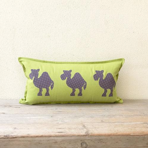Lime Green Appliqué Camel Train Cushion
