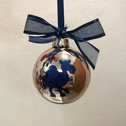Christmas Bauble - Gold with Blue Camel