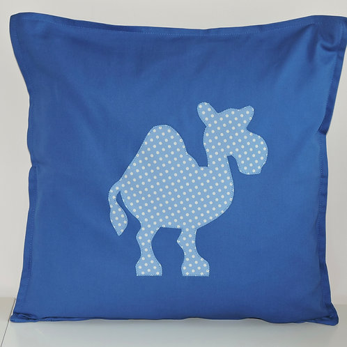 Blue Appliqué Camel Cushion