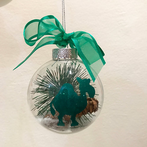 Christmas Bauble - Clear Fir Tree with Green Camel